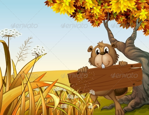 GraphicRiver Beaver at the Top of a Hill Holding a Wooden Sign 8024091