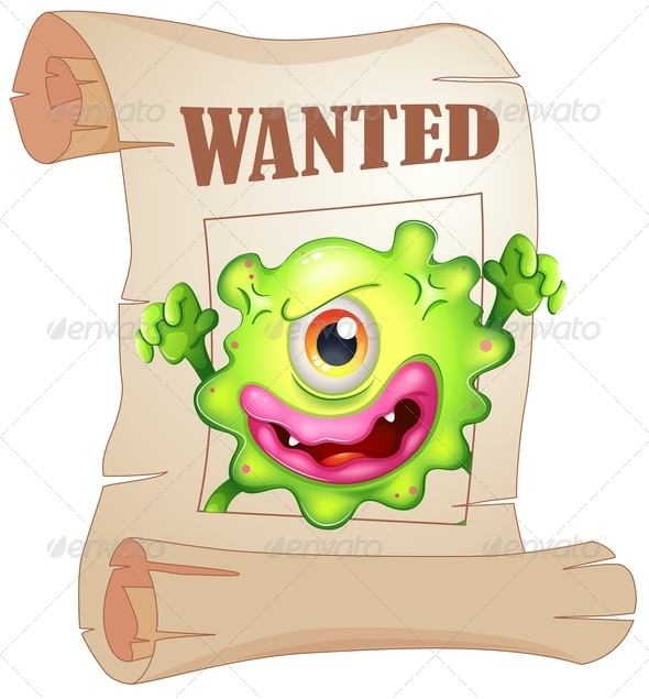 GraphicRiver Wanted One-Eyed Monster on a Poster 8024109