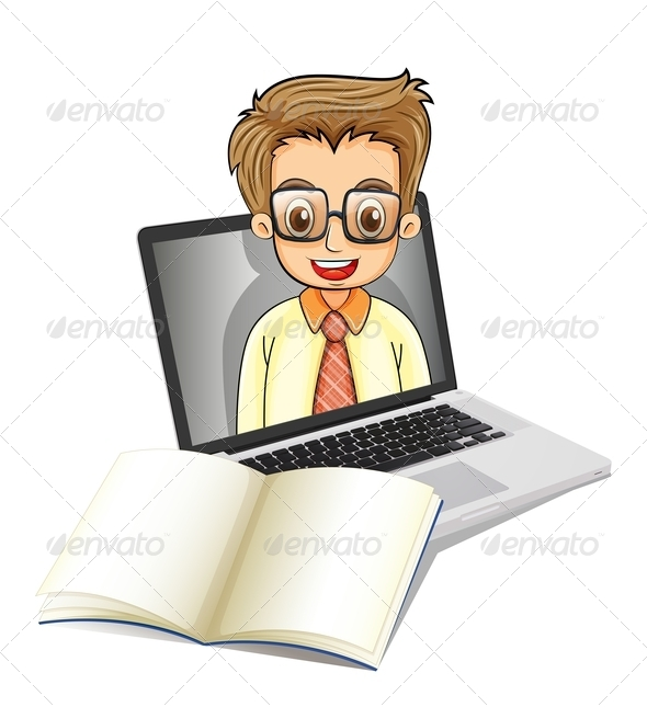 GraphicRiver Laptop with a Smiling Man Wearing Glasses 8024126