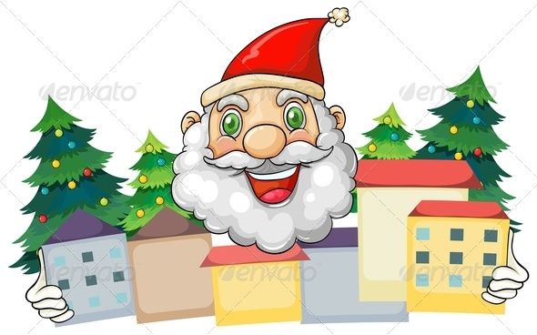 GraphicRiver Smiling Santa Hugging a Village 8024128