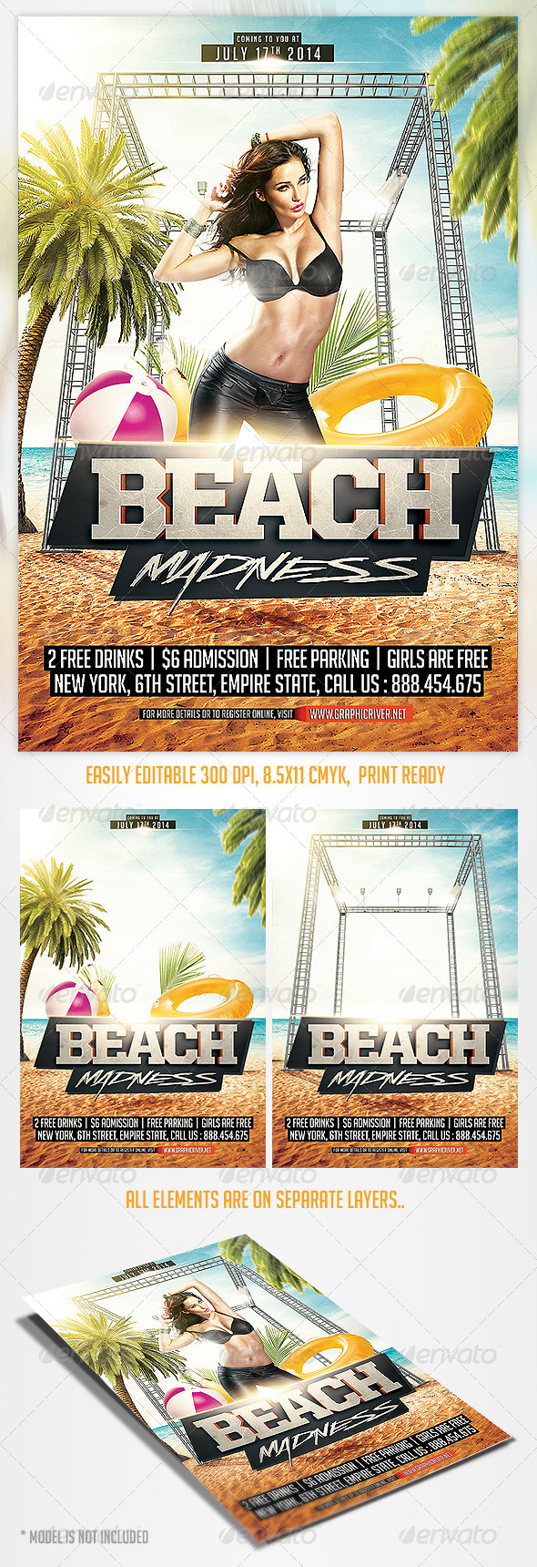 Summer Beach Madness Flyer Template - Print Templates
