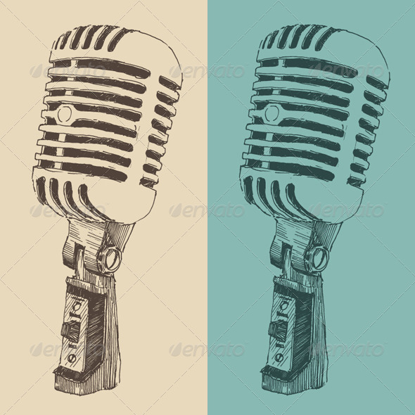 GraphicRiver Studio Microphone Vintage Illustration 8024174