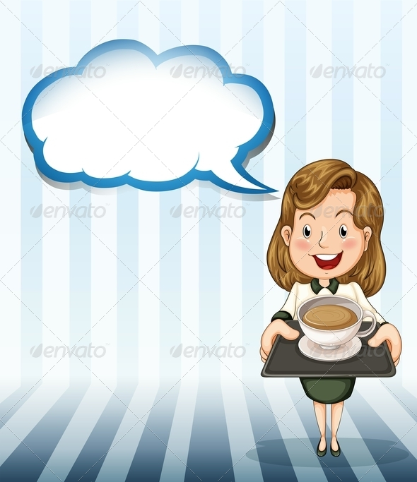 GraphicRiver Woman with Coffee Tray and Empty Callout 8024412