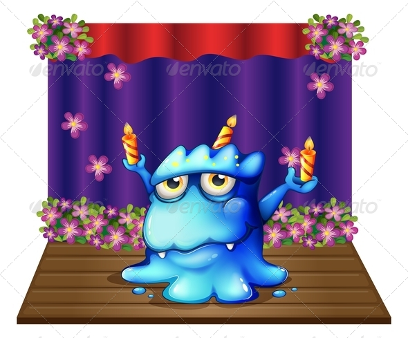 GraphicRiver Stage with Monster and Birthday Candles 8024418