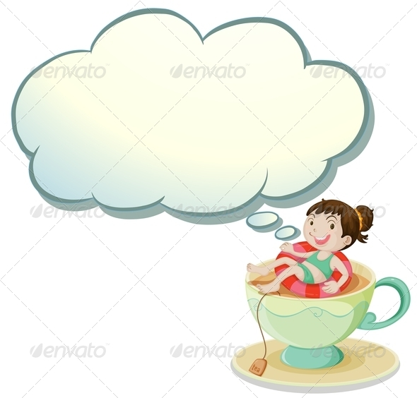 GraphicRiver Girl Swimming in Tea Cup with Empty Callout 8024431