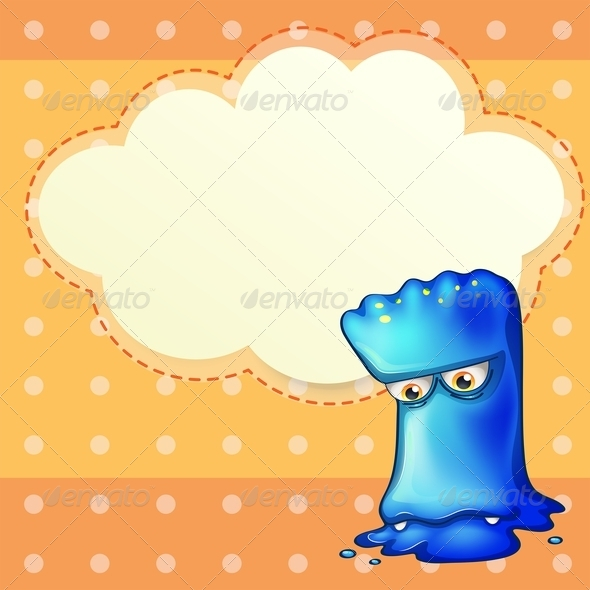 GraphicRiver Sad Monster with Empty Cloud Template 8025163