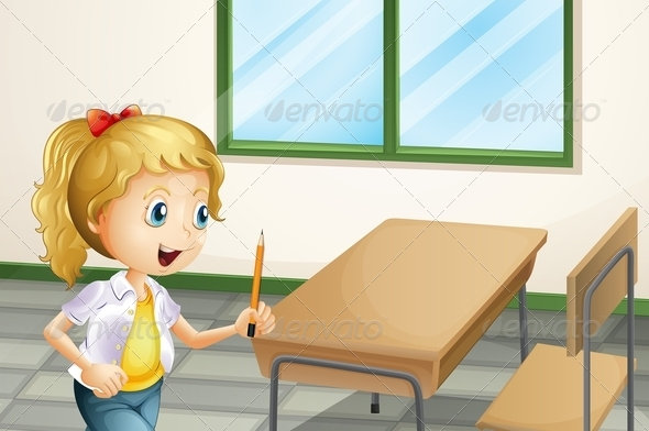 GraphicRiver Girl With Pencil in Class 8025165