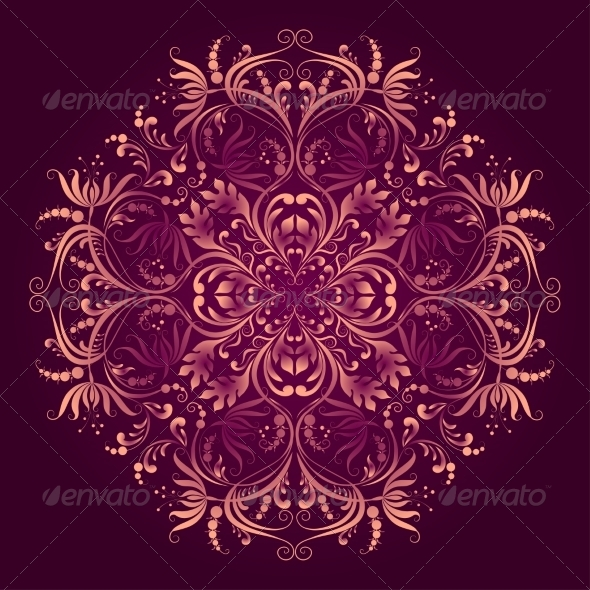 GraphicRiver Floral Pattern with Round Damask Ornament 8025208