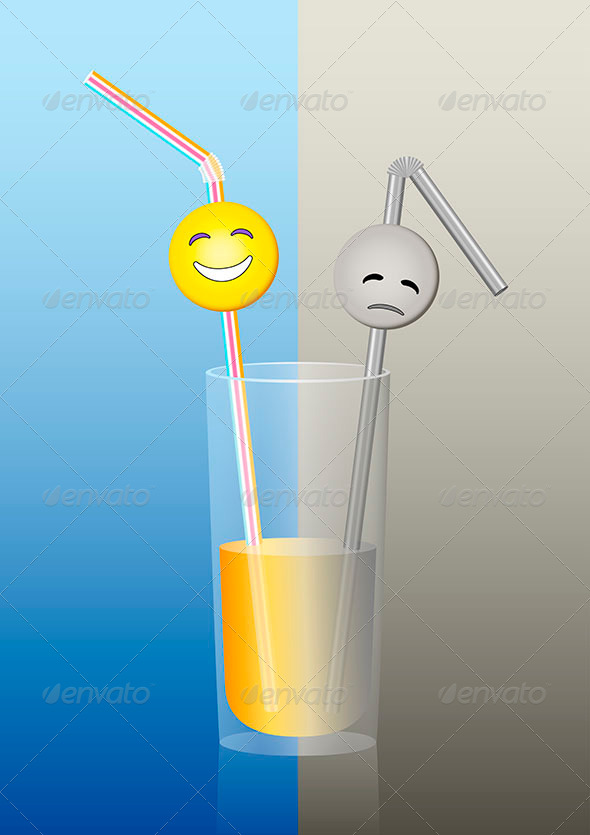 GraphicRiver Glass Straws Half Full Half Empty 8025270