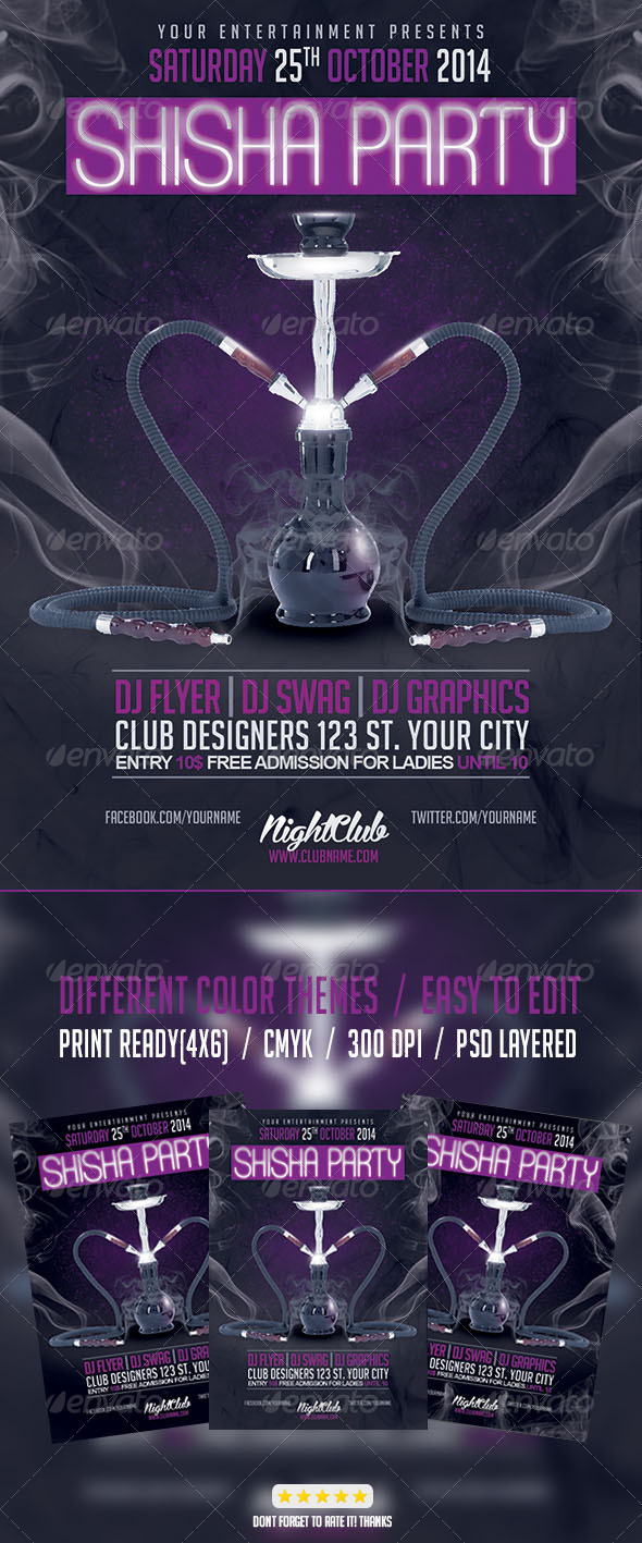 GraphicRiver Shisha Narguile Club Night Party Flyer Template 8025326