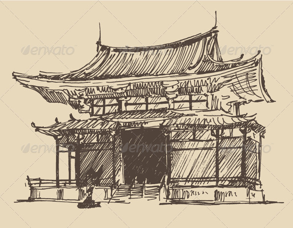 Japan Landmark Vintage Illustration