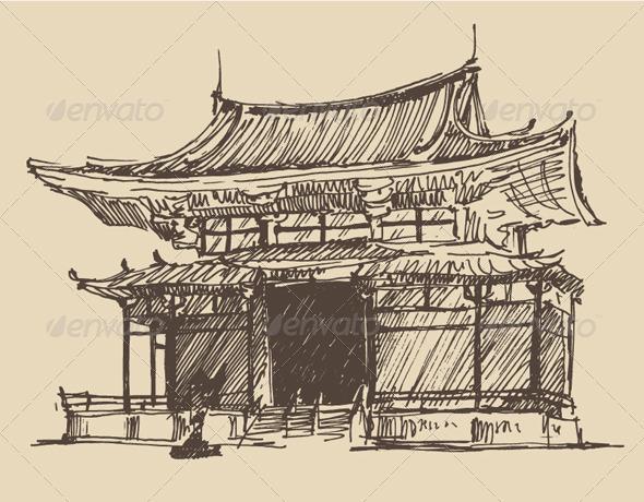 GraphicRiver Japan Landmark Vintage Illustration 8025423