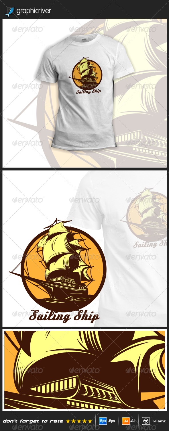 GraphicRiver Sailing Ship T-Shirts 8025431