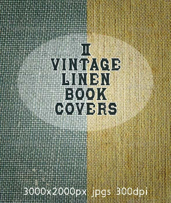 Vintage Linen Fabric 2 Old Book Covers