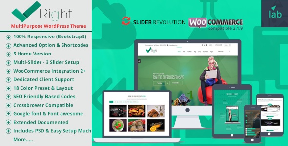 ThemeForest Right Multipurpose Shop WordPress Template Bundle 7979939