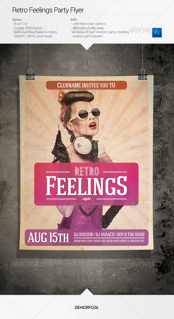 GraphicRiver Retro Feelings Party Flyer 8025497