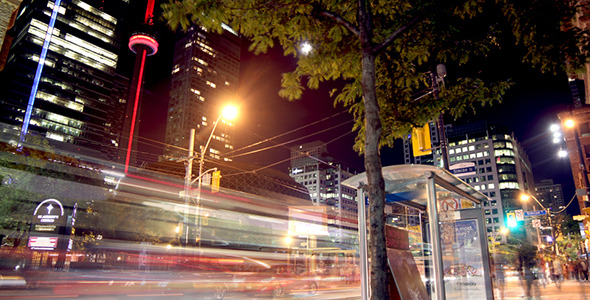 Night Traffic in Downtown Toronto