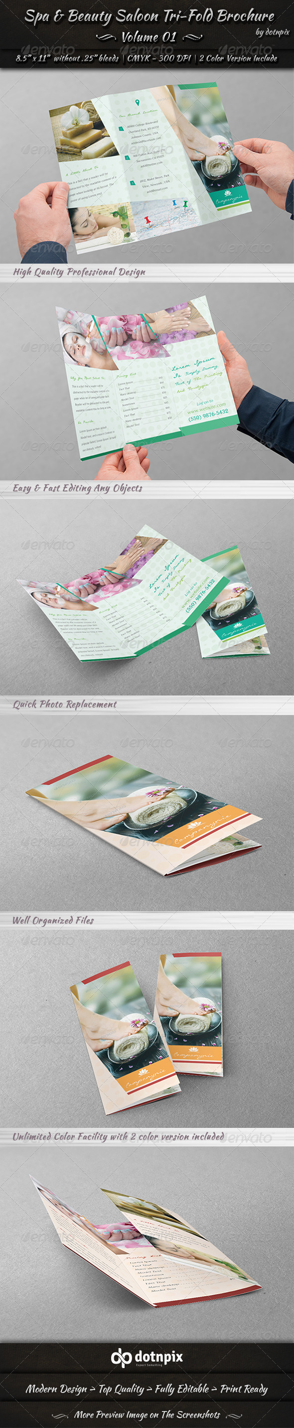 GraphicRiver Spa & Beauty Saloon Tri-Fold Brochure Volume 1 7999679