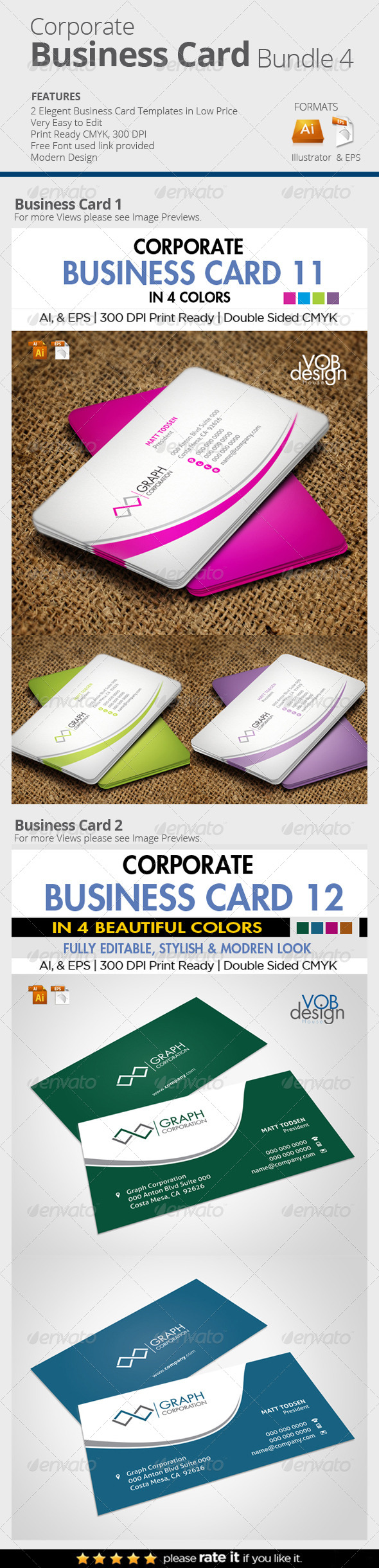 GraphicRiver 2 in One Business Card Bundle 4 8026190