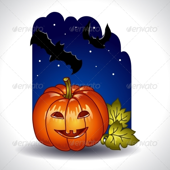 GraphicRiver Halloween Background with Pumpkin and Bats 8026535