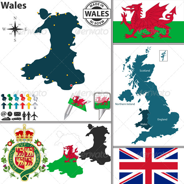 GraphicRiver Map of Wales 8026589