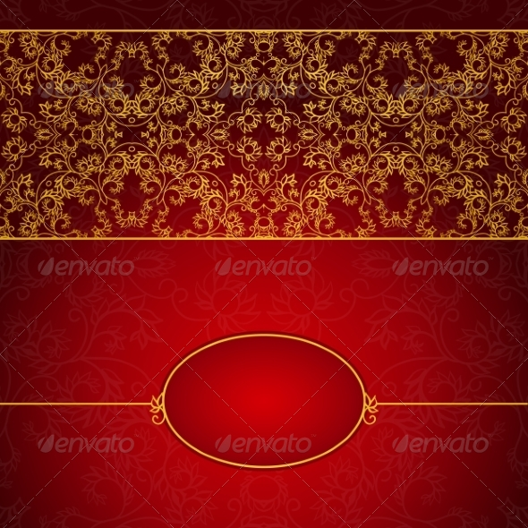 GraphicRiver Abstract Gold and Red Invitation Frame 8026850