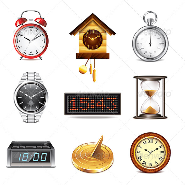 GraphicRiver Different Clocks Icons Set 8026968