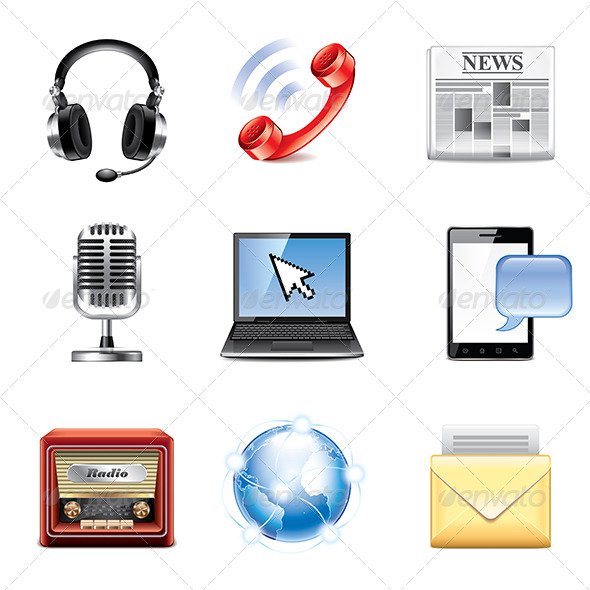 GraphicRiver Media and Communication Icons Set 8026970