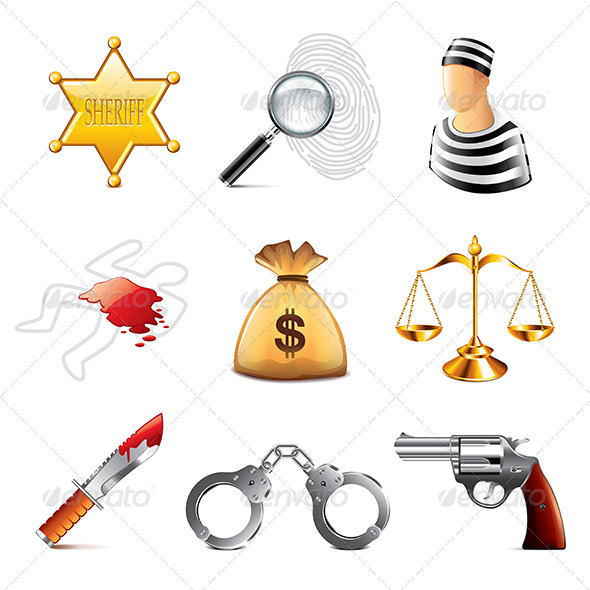 GraphicRiver Crime and Law Icons Set 8026972