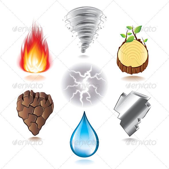 Seven Natural Elements Icons Set Nature Download Best