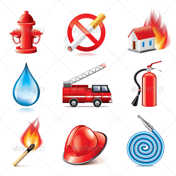 GraphicRiver Fire Fighting Icons Set 8026980