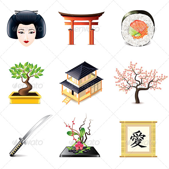 GraphicRiver Japanese Culture Icons Set 8026982