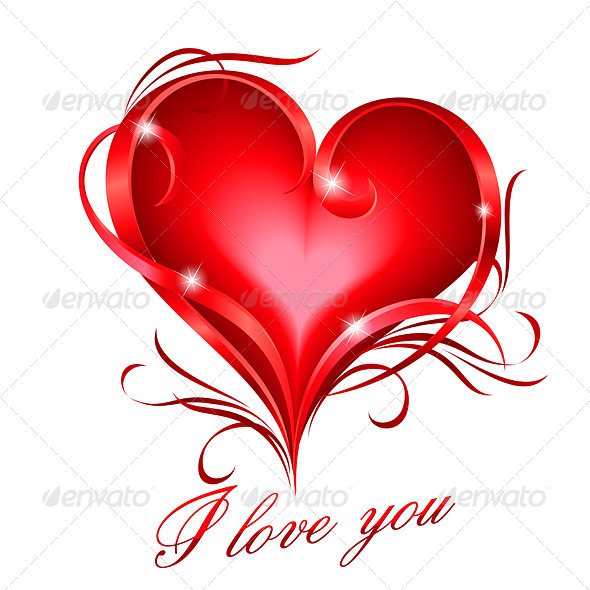 GraphicRiver Red heart with I Love You Text 8027121
