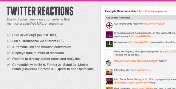 CodeCanyon Twitter Reactions 98160