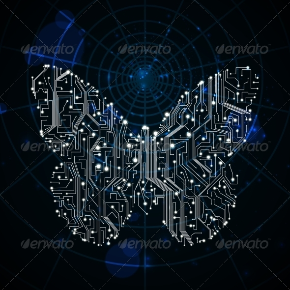 GraphicRiver Circuit Board Butterfly Background 8027535