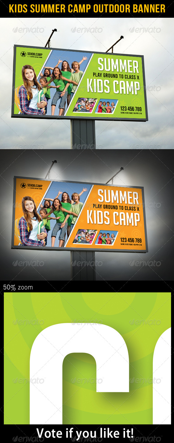 Kids Summer Camp Outdoor Banner
