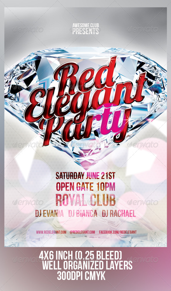 GraphicRiver Red Elegant Party Flyer Template 8027846