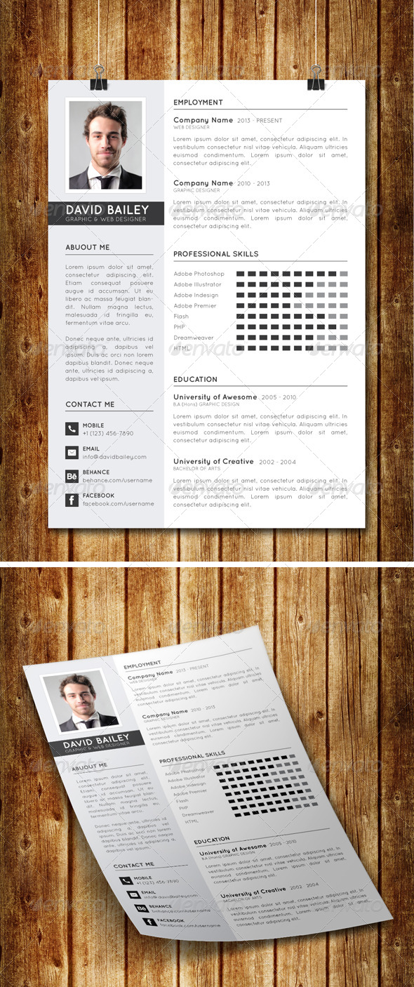 GraphicRiver Clean Modern Resume V7 8027853
