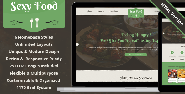 ThemeForest Sexy Food Food & Restaurant HTML Template 8028122
