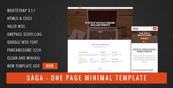 Saga - One Page Minimal Template - Site Templates