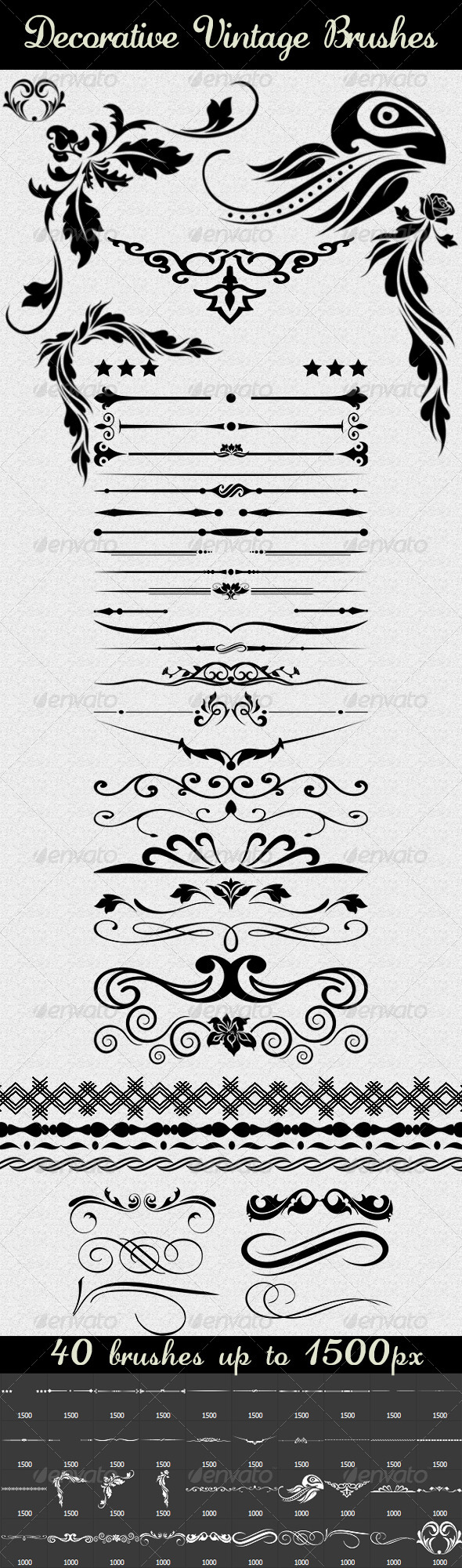 GraphicRiver 40 Decorative Vintage Brushes 8030194