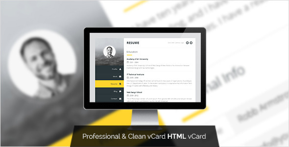 Premium Layers: HTML vCard & Resume Template - Virtual Business Card Personal