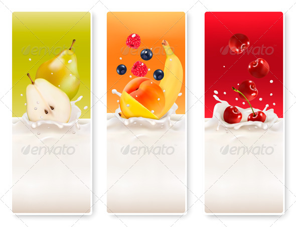 GraphicRiver Three Fruit and Milk Labels 8031156