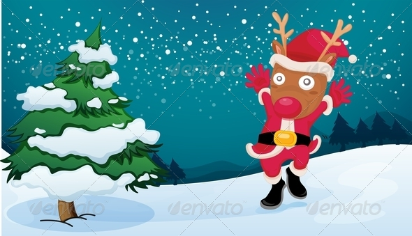 GraphicRiver Xmas Deer with Tree 8031863
