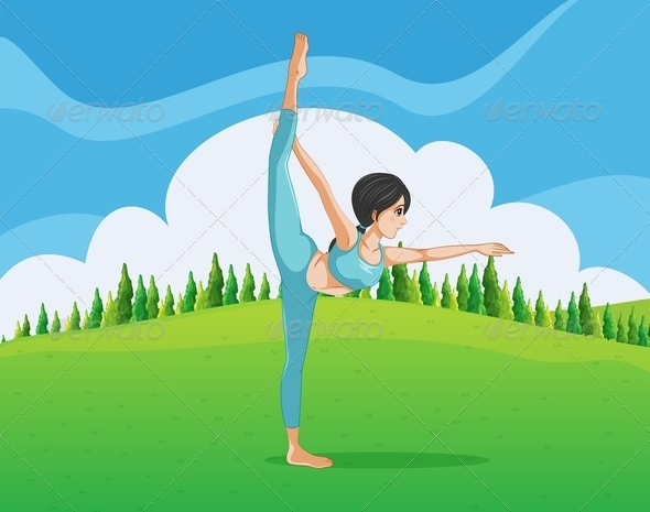 GraphicRiver Girl Doing Yoga in the Park 8032137