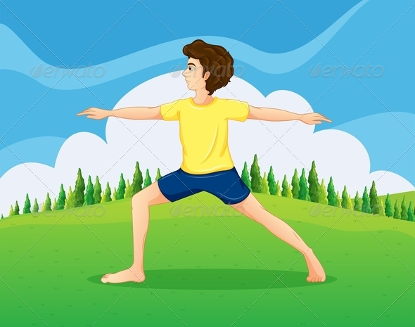GraphicRiver Man doing Yoga in the Park 8032187