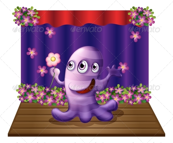 GraphicRiver Three-Eyed Purple Monster on Stage 8032192