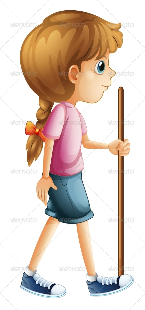 GraphicRiver Girl Hiking with Stick 8032207