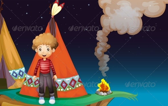 GraphicRiver Boy Outside TeePee 8032218