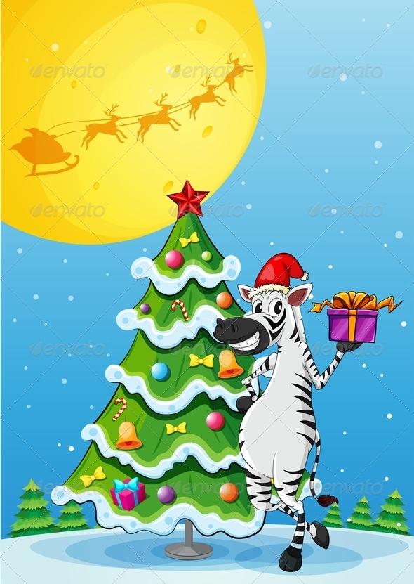 GraphicRiver Zebra with Christmas Tree 8032260